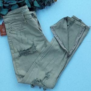 Crysp Denim Destroyed Ankle Zipper Jeans